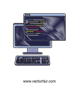grated computer and website with programming data code