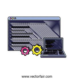 grated laptop and website with data program code