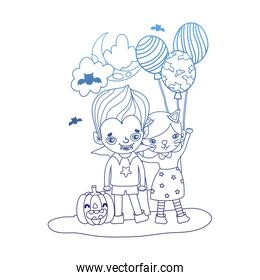 degraded outline girl and boy costumes with balloons and pumpkin