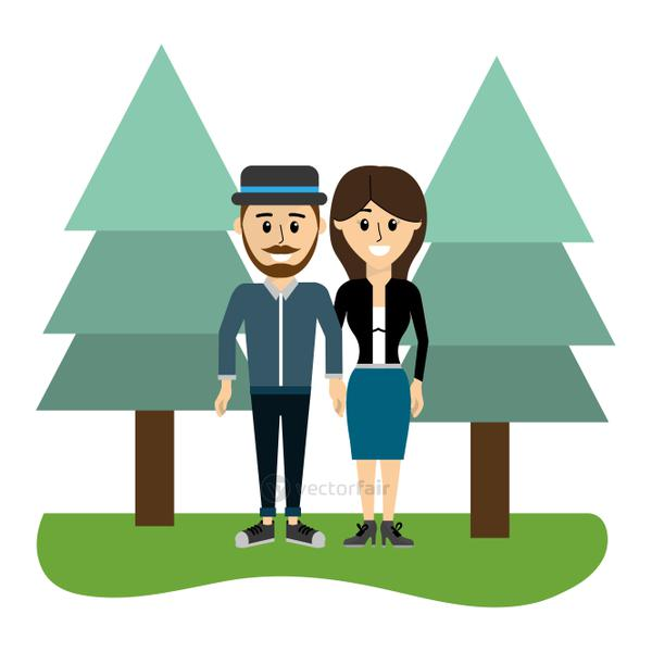 beauty couple together with pine trees