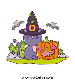 cat wearing hat with pumpkin and bats