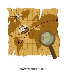 map with ship discovery america and magnifying glass