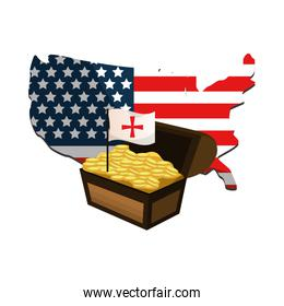 usa flag map and chest with gold coins