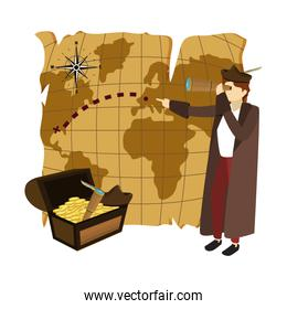 man christopher with global map and chest