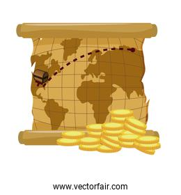 global map parchment with gold coins