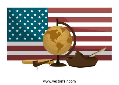 usa flag with hat and pipe tabacco