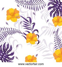 exotic flowers with cute branches leaves
