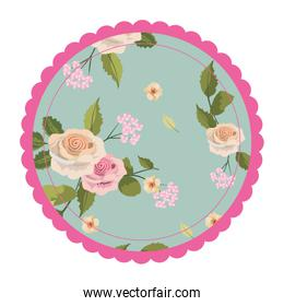 rustic circle with exotic roses and leaves