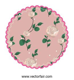 rustic circle with roses plant and leaves