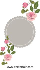 rustic circle style with roses and branches leaves