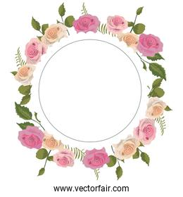 circle with branches leaves and exotic roses