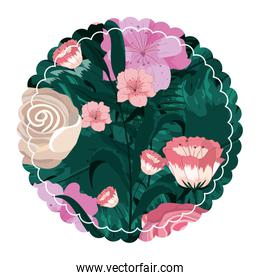 circle flowers and roses with exotic leaves