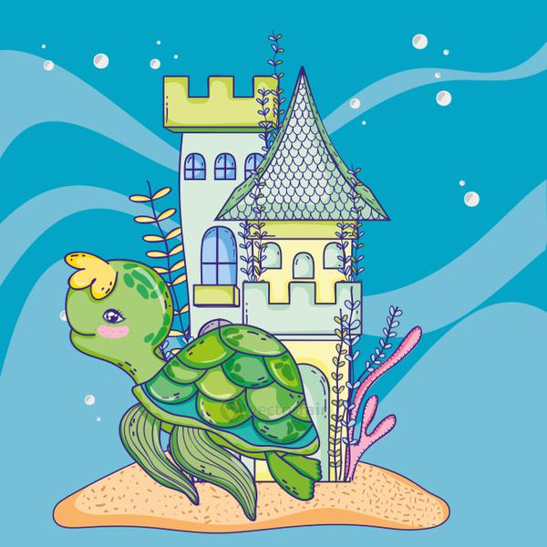 turtle animal with castle and seaweed plants
