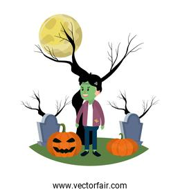 boy with frankenstein costume in the cemetery and full moon