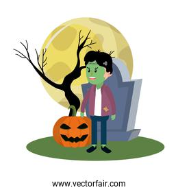 boy with frankenstein costume and rip stone