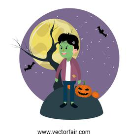 boy with frankenstain costume and full moon