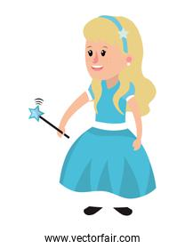 girl with dress and star magic wand