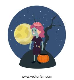 girl with zombie costume and full moon