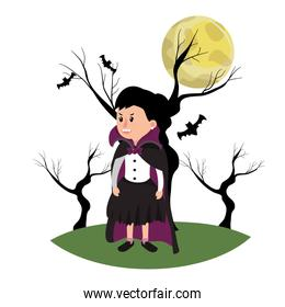 girl with vampire costume and trees branches