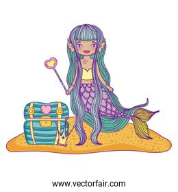 Mermaid swimming undersea