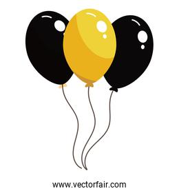 Black and yellow balloons