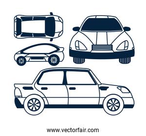 Set of car views icons