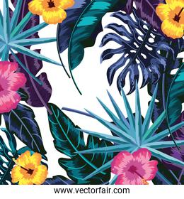Tropical leaves and flowers background