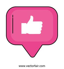 Like thumb up symbol in speech bubble