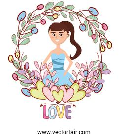 young woman floral frame cartoon
