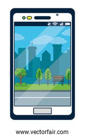 Smartphone with park background on screen