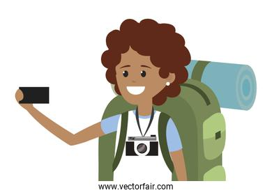 Young backpacker tourist