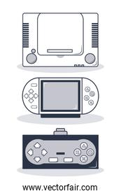 Set of videogame consoles