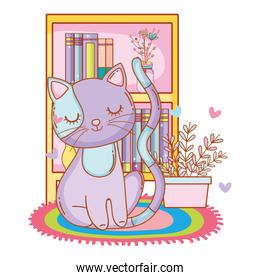 kitty cat lay down cartoon