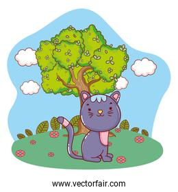 cute kitty cat outdoors cartoon