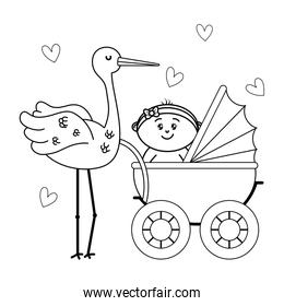 baby carriage newborn in black and white
