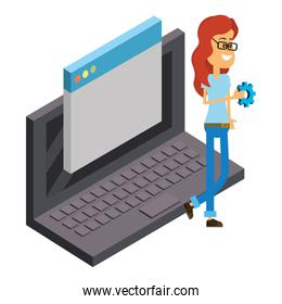 Woman and technology isometric