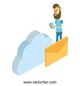man and technology isometric