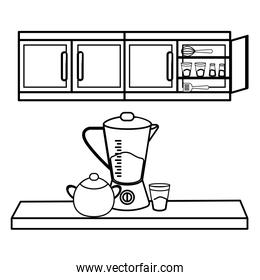 kitchen cute cartoons utensils in black and white
