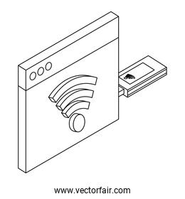 Mobile usb internet technology isometric concept in black and white