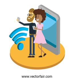 Couple with smartphone