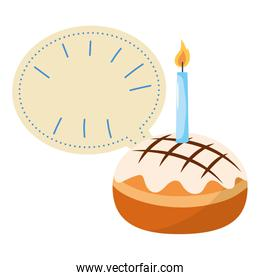 Cake with candle and blank bubble speech
