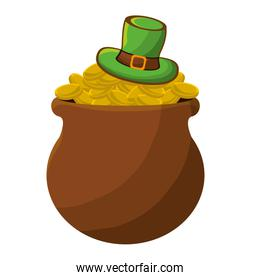 St patricks day hat and coins illustration