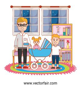 Father with baby and son design