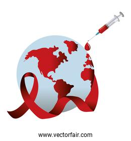 Hiv ribbon with planet and syringe design