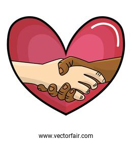 Heart and interracial hands
