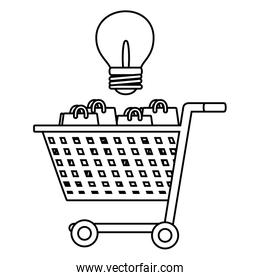 Shopping online and advertising in black and white