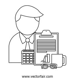 Businessman and office in black and white