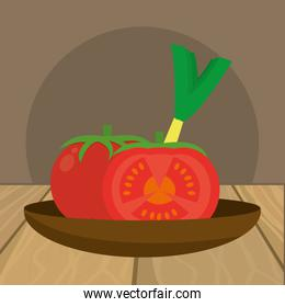 delicious fresh vegetables cartoon