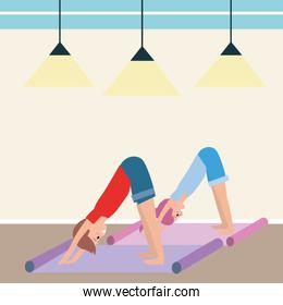 fit couple practicing yoga
