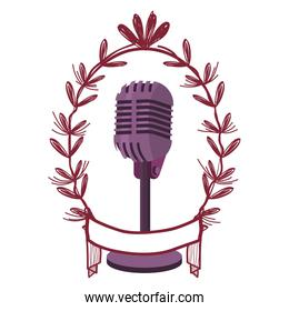microphone and leaves